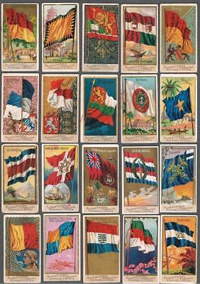 1890 N10 Allen & Ginter Flags of All Nations Tobacco Cards Complete Set of 50