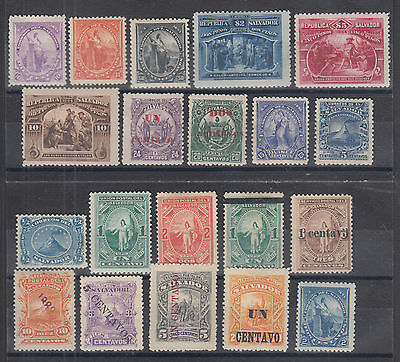 Salvador Sc 1a//157E MLH. 1873-1896 issues, 20 different singles, F-VF