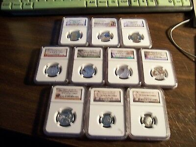 (Lot Of10)-Ngc Graded Proof 70 Only Coins-10C-25C &-$1 Coins-Exact Coins Shown
