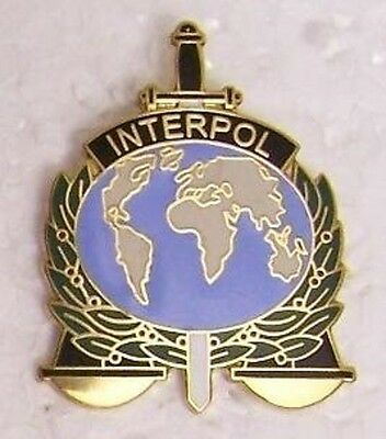Large Hat Pin INTERPOL logo Jacket Epaulet NEW International Criminal Police Org