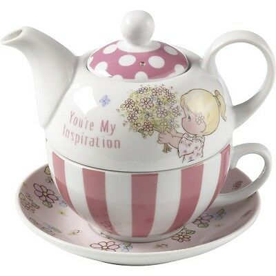 $ PRECIOUS MOMENTS Porcelain Tea Sets TEAPOT CUP SAUCER Pink White Girl Flower