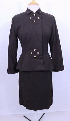 Vintage 1940s 40s Art Deco Prong Set Rhinestone Buttons Wasp Skirt Suit S/M