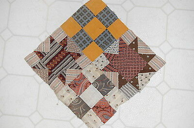 Early Madder Cheddar Antique Star Quilt Top Shirting Calico Piece Repurpose