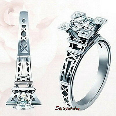 White Gold Plated Eiffel Tower Engagement Ring Made With Swarovski Crystal R17