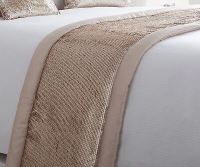 LUXURY EMBELLISHED SEQUIN QUILTED BED RUNNER THROW 50cm X 220cm INGRID BLUSH NEW