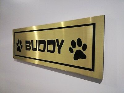 Personalised dog kennel aluminium sign plaque **Choice of GOLD/SILVER/BLACK""""