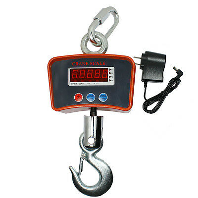 1000 KG 2200 LBS Digital Hanging Scale Industrial Crane Scale Warehouse w/ AC