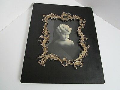 "Antique VICTORIAN 1800's Black wood ornate silver gesso Picture Cherub 17""x14"""