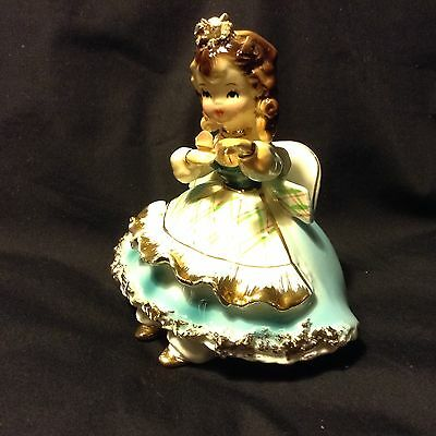 Lovely JOSEF ORIGINAL Girl Figurine Sitting on a Chair BLACK EYES