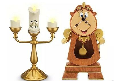 Disney Park Beauty & the Beast Cogsworth Clock & Lumiere Light Up Figure