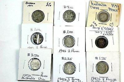 Collection of Australia Silver 3 & 6 Pence Coins No Reserve