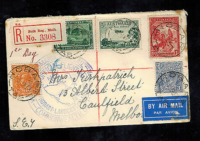 1931 Tasmania to Melbourne Australia First Flight Cover FFC C1 86 87