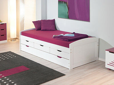 bettgestell jugendbett 90 x 200 cm massivholz wei 3 schubk sten neu eur 180 00 picclick de. Black Bedroom Furniture Sets. Home Design Ideas