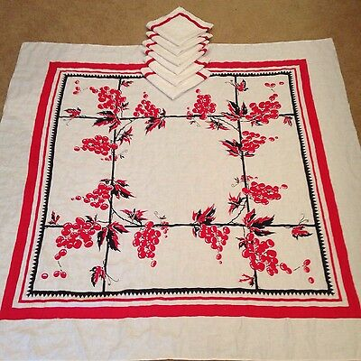 "Vintage Red Black White Linen Tablecloth & 6 Napkins Set 52"" Grapes"