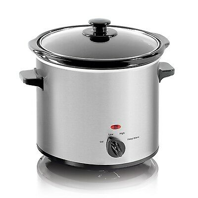 Elgento 3.5 Litre Crock Pot Slow Cook Cooker Electric Steamer With Glass Lid New