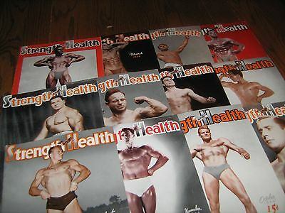 Lot Of 12 Strength & Health Bodybuilding Magazines/ 1944 COMPLETE YEAR