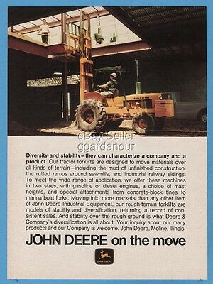 1973 John Deere Tractor Forklift Photo Moline IL Vintage Print Ad