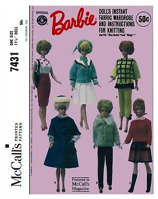 Vintage Mccalls Barbie Doll Clothes Fabric Sewing Knitting Pattern