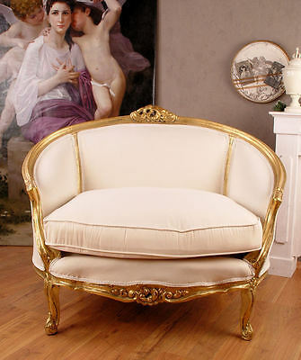 Barocksessel Sofa Weiss Shabby Salon Sessel Barocksofa Couch