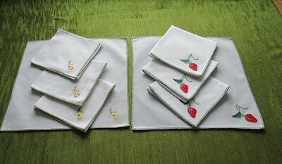 TEA NAPKINS with HAND EMBROIDERY DECORATION-COLL.of 8 -UNUSED