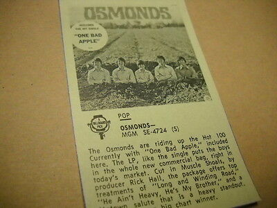 OSMONDS original music biz only Album Review OSMONDS w/ One Bad Apple