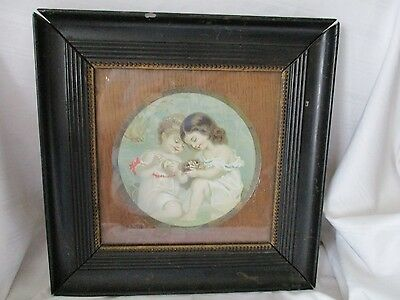 Vintage print in nice old antique frame girls black gold shabby chic