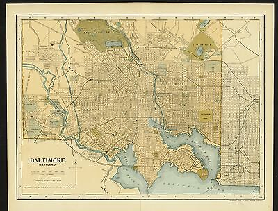 Vintage Street Map 1903 CITY OF BALTIMORE, MARYLAND Color Lithograph