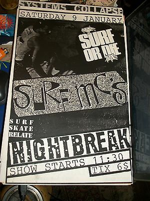 Surf MC's Show Promo Poster, Nightbreak San Francisco 1988 Surf or Die