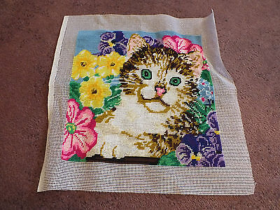 Needlepoint Sampler Complete Ready to Frame Or Face Pillow Cat Floral 10x10""