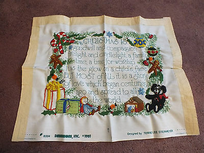 Needlepoint Sampler Complete Ready to Frame Face Pillow Christmas Design 14x10