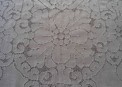 Vintage Linen Mosaic Lace Dinner Tablecloth Napkin Set Art Deco Floral 76""