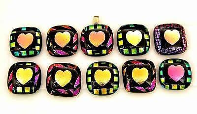 VALENTINE HEART colorful Lot 10pcs DICHROIC FUSED GLASS (BB16) CAB MOSAIC