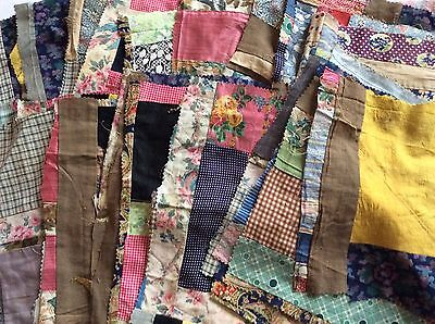 Lot Antique Thirty-Nine Crazy Patchwork Quilt Square Calico & Solid Pieces 42