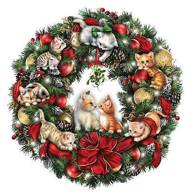 Merry Mischief Makers Cat Christmas Wreath Bradford Exchange