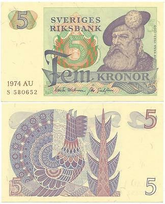 1974 KINGDOM of SWEDEN Choice, Crisp FEM (5) KRONER NOTE, Shows KING GUSTAV VASA