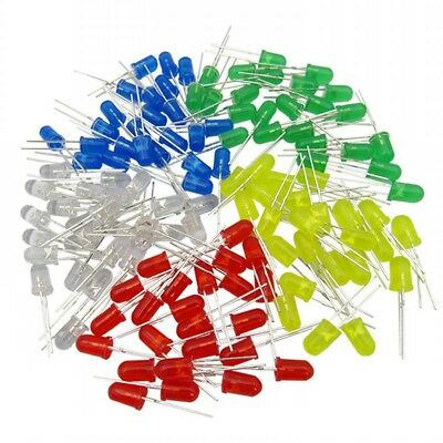 100pcs 5MM Light Emitting Diode LED Assortment Kits Red Green Yellow Blue White