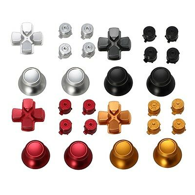 Metal Dpad Thumbstick Cap Bullet Buttons Kit For Sony PS4 DualShock 4 Controller