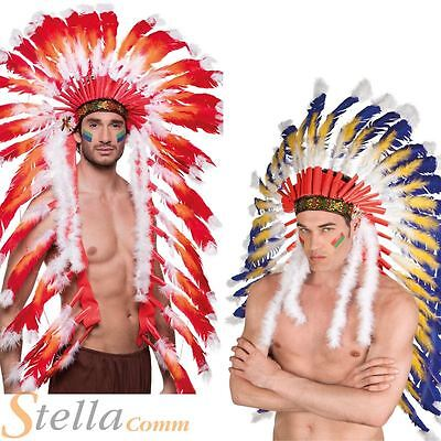 Red Indian Headdress Headpiece Native American Fancy Dress Costume Accessory