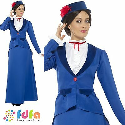 VICTORIAN NANNY MARY POPPINS ADULT UK 6-22 Womens Ladies Fancy Dress Costume