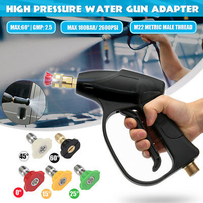 High Pressure Washer Gun Lance + Water Spray Nozzle Tips M22 Adapter For Karcher