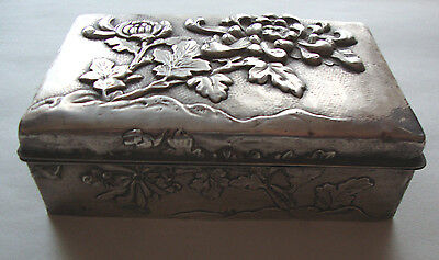 Antique Japanese Meiji period silver covered trinket box