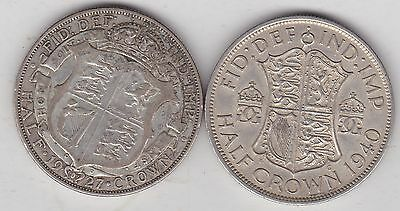 1927 & 1940 50% Silver Half Crowns In Good Fine Or Better Condition