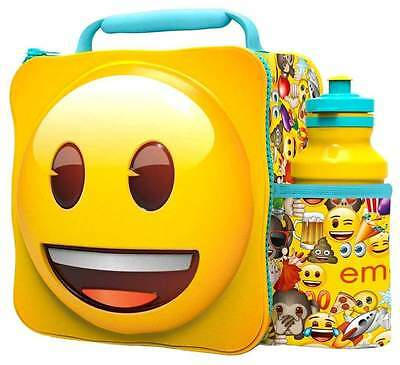 Yellow Smiley Face Emoji Thermal 3D Lunch Bag Box & Drink Bottle Set 86659