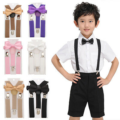Children Kids Clip-on Suspenders Elastic Adjustable Y-Back Braces With Bow Tie