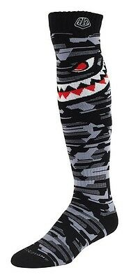 Troy Lee S/M UK 7-9  Adult MX Moto Socks P-51 GREY Motocross Enduro
