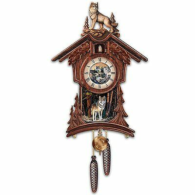Woodland Forest Wolf Native Rustic Wooden Cuckoo Clock NEW