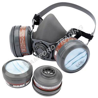Draper Reusable Respirator Vapour/Dust Filter Face Mask Kit with 4 Spare Filters