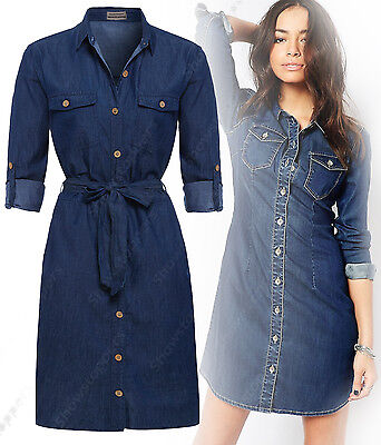 NEW Womens Longline Denim Shirt Dress Ladies Jean Dress Blue Size 8 10 12 14