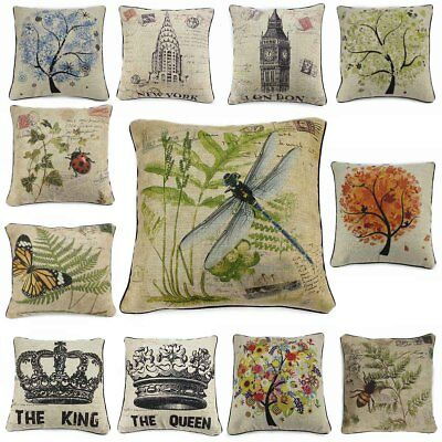 Cotton Linen Insect Vintage Pillow Case Cover Throw Cushion Weather Archit
