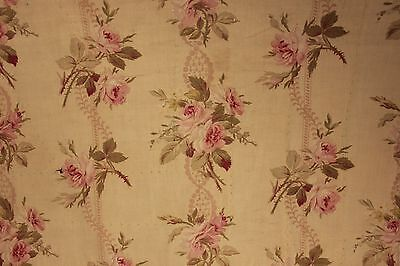 Antique French floral c1910 rose roses ribbon faded shabby chic printed cotton